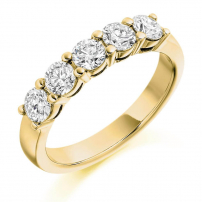 18ct Yellow Gold Five Stone Diamond Half Eternity Ring