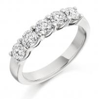18ct Yellow Gold Five Stone Diamond Half Eternity Ring