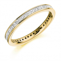 18ct Yellow Gold Fully Set Princess Cut Wedding Ring