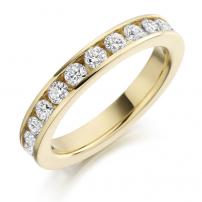 18ct Yellow Gold Fully Set Round Diamond Wedding Ring