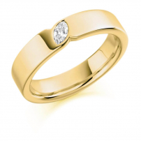 18ct Yellow Gold Marquise Cut Diamond Wedding Ring