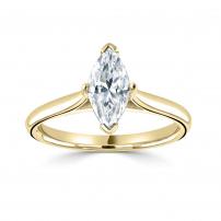 18ct Yellow Gold Single Stone Marquise Diamond Engagement Ring