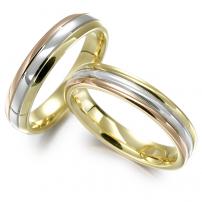 18ct Yellow, White and Rose Gold Matching Wedding Ring Set