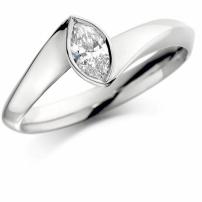 18K White Gold Marquise Shaped Diamond Engagement Ring