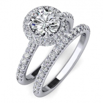Platinum Engagement and Wedding Ring Set