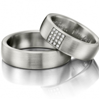 Palladium Matt Finish Wedding Ring Set