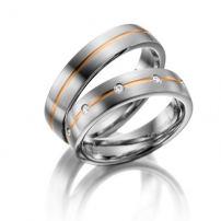 Palladium and Rose Gold Matching Wedding Ring Set