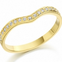 18ct Yellow Gold Curved Diamond Wedding Ring