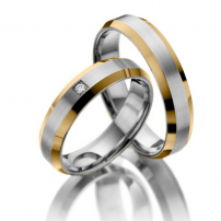 9ct Yellow Gold and Platinum Two-colour Wedding Ring Set