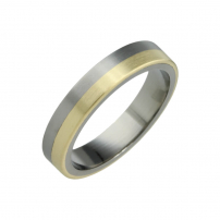 Titanium and Yellow Gold Wedding Ring