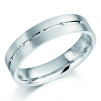 9ct White Gold Mens Diamond Set Channel Wedding Ring