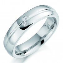 Palladium Two Stone Diamond Wedding Ring