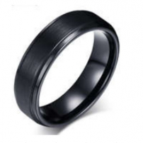 Black Matt and Polished Tungsten Wedding Ring
