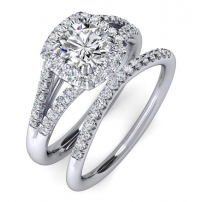 Palladium Diamond Engagement and Wedding Ring Set