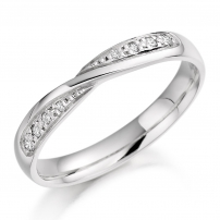 9ct White Gold Delicate Diamond Crossover Wedding Ring