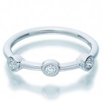9ct White Gold Rub Over Set Diamond Wedding Ring