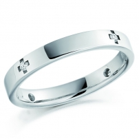 9ct White Gold Cross Style Ladies Wedding Ring