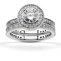14ct White Gold Diamond Rings Matching Set