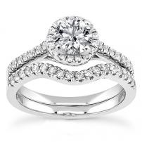 Platinum Diamond Set Curved Wedding and Engagement Ring Set