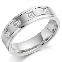 Platinum Four Stone Princess Cut Wedding Ring