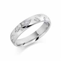 Palladium Diamond set Engraved Wedding Ring