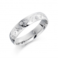 Platinum Diamond Set Engraved Wedding Ring