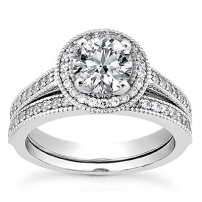 9ct White Gold Diamond Wedding and Engagement Ring Set