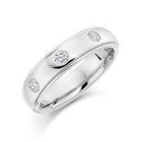 Palladium Three Stone Rolled Edge Wedding Ring