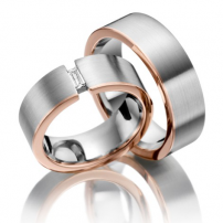 Two-colour Platinum and Rose Gold Wedding Ring Set