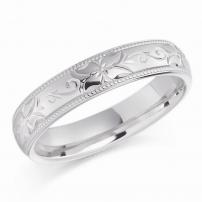 Palladium Hand Engraved Floral Design Wedding Ring