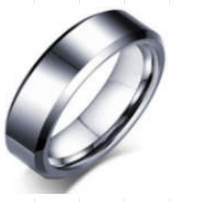 Tungsten Patterned Bevel Edge Wedding Ring