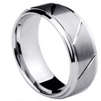 Diagonally patterned Gents Tungsten Wedding Ring