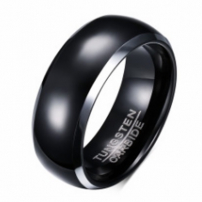 Black Mens Wedding Ring in Tungsten