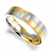 18ct Yellow and White Gold Baguette Diamond Wedding Ring