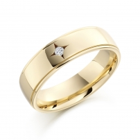 9ct Yellow Gold Star Set Diamond Wedding Ring