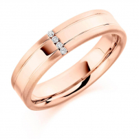 9ct Rose Gold Four Diamond Channel Wedding Ring