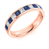 9ct Rose Gold Princess Cut Diamond and Blue Sapphire Wedding Ring
