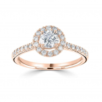 9ct Rose Gold Round Diamond Halo Style Engagement Ring
