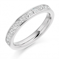 9ct White Gold 1.00ct Princess Cut Half Eternity Ring