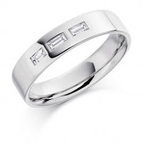 9ct White Gold Baguette Cut Diamond Wedding Ring