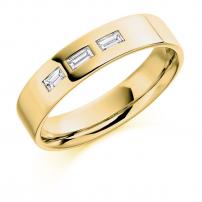 9ct White Gold Baguette Cut Diamond Wedding Ring