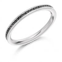 9ct White Gold Black Diamond Full Set Wedding Ring