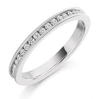 9ct White Gold Channel Set Ladies Wedding Ring Fully Set
