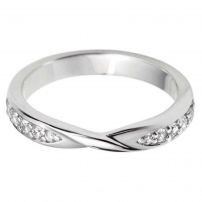 9ct White Gold Crossover Style Wedding Ring