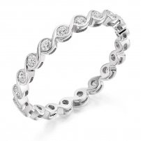 9ct White Gold Delicate Diamond Set Wedding Ring
