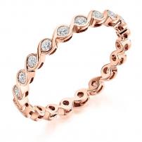 9ct White Gold Delicate Diamond Set Wedding Ring