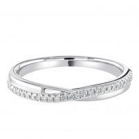 9ct White Gold Delicate Pave Set Diamond Crossover Ring