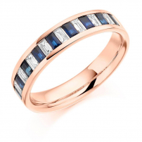 9ct White Gold Diamond and Blue Sapphire Baguette Ring