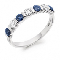9ct White Gold Diamond and Blue Sapphire Ring