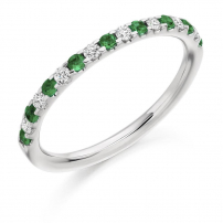 9ct White Gold Diamond and Emerald Claw Set Wedding Ring